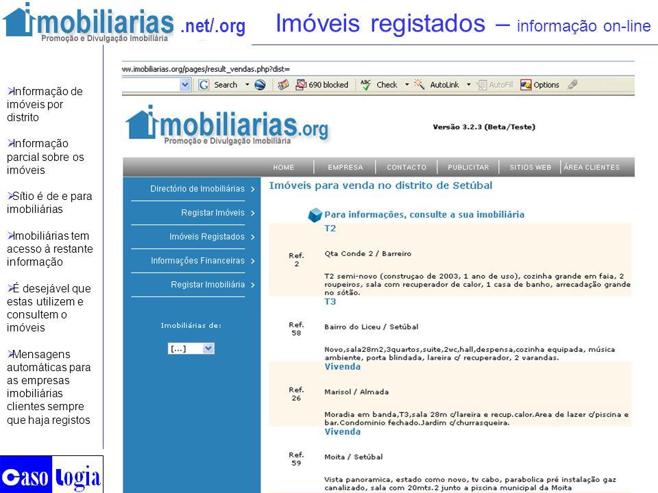 .net/.org Imóveis registados – informação on-line Informação de imóveis por distrito Informação parcial sobre os imóveis Sítio é de e para imobiliária