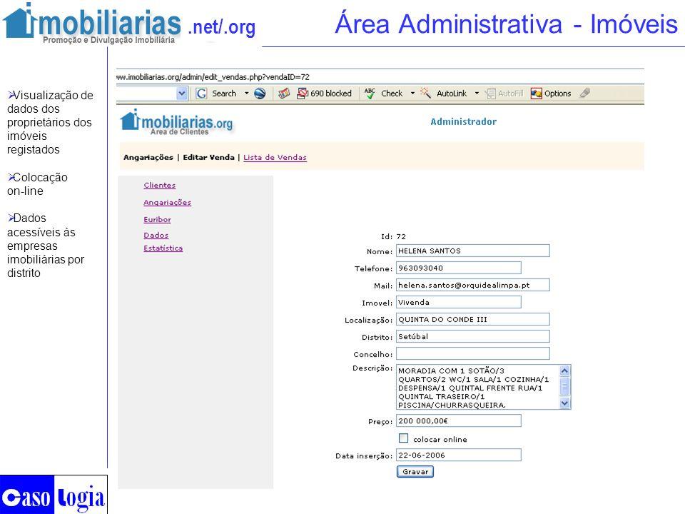 .net/.org Área Administrativa - Imóveis Visualização de dados dos proprietários dos imóveis registados Colocação on-line Dados acessíveis às empresas