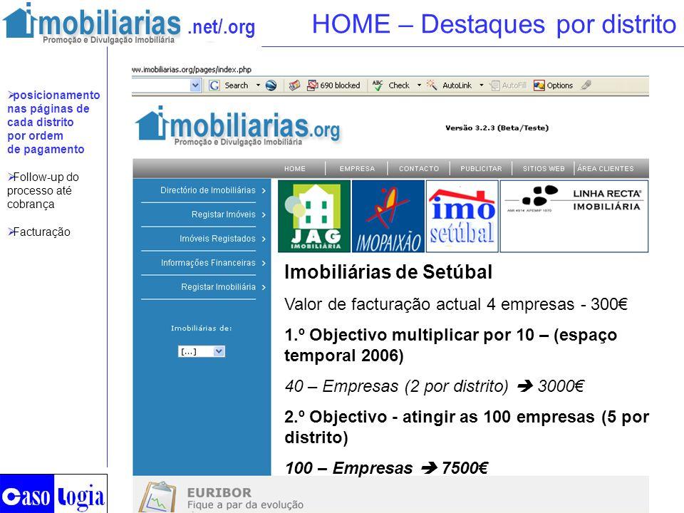 .net/.org HOME – Destaques por distrito Imobiliárias de Setúbal Valor de facturação actual 4 empresas - 300 1.º Objectivo multiplicar por 10 – (espaço