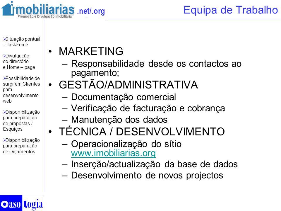 .net/.org Equipa de Trabalho MARKETING –Responsabilidade desde os contactos ao pagamento; GESTÃO/ADMINISTRATIVA –Documentação comercial –Verificação d