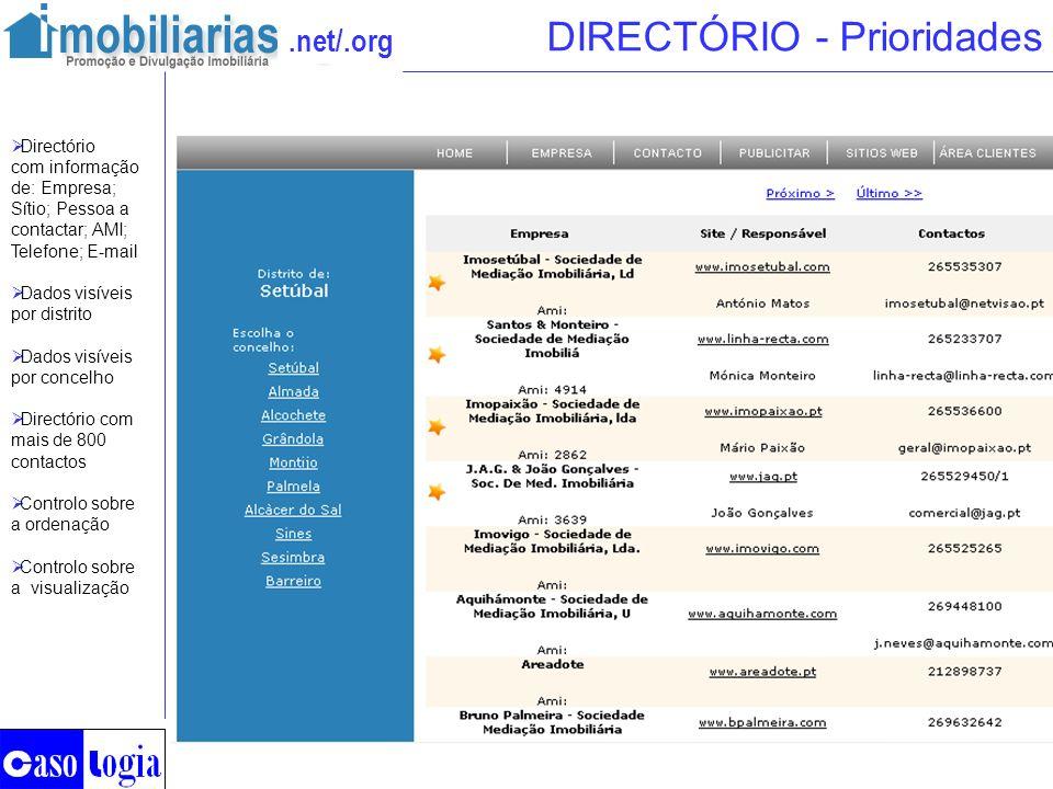 .net/.org DIRECTÓRIO - Prioridades Directório com informação de: Empresa; Sítio; Pessoa a contactar; AMI; Telefone; E-mail Dados visíveis por distrito