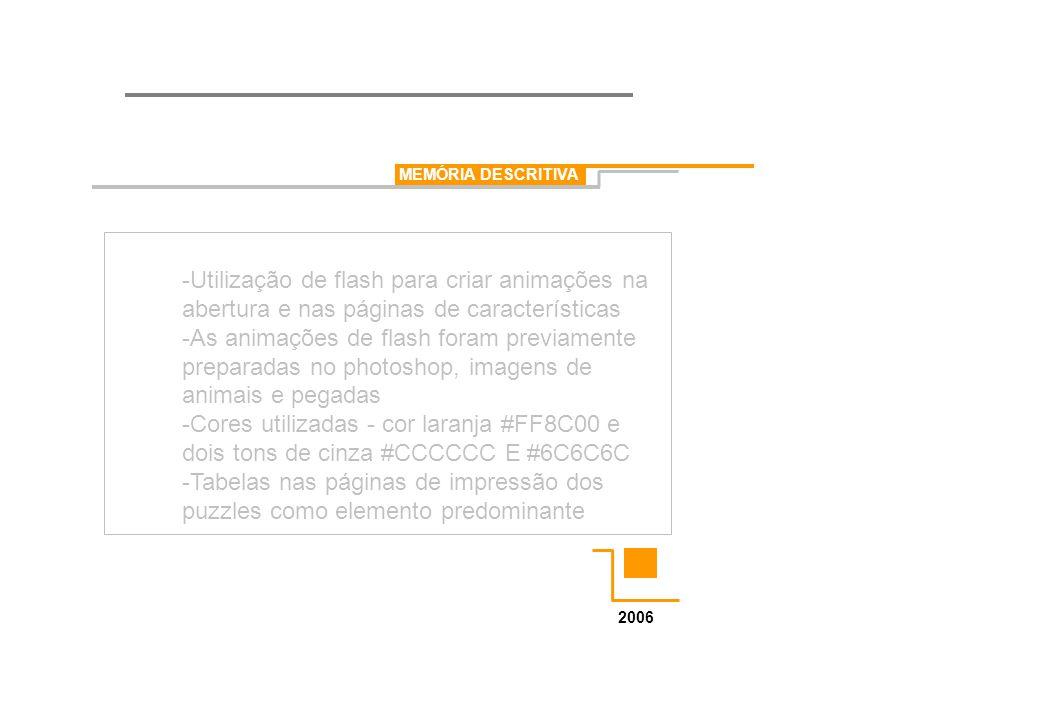 MEMÓRIA DESCRITIVA 2006 -Utilização de flash para criar animações na abertura e nas páginas de características -As animações de flash foram previament