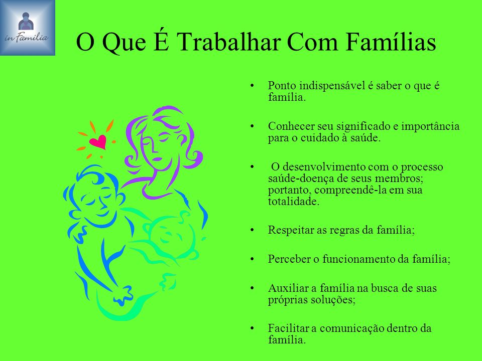 O Que É Trabalhar Com Famílias Ponto indispensável é saber o que é família. Conhecer seu significado e importância para o cuidado à saúde. O desenvolv