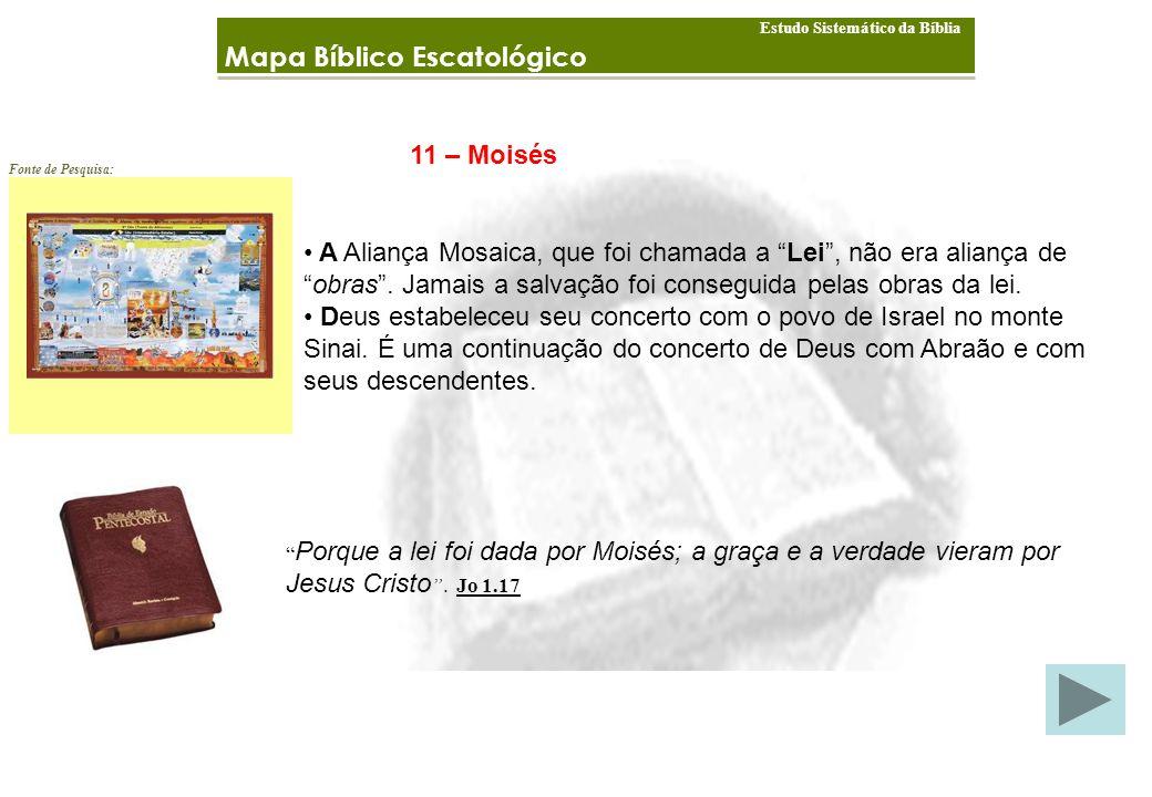 Mapa Bíblico Escatológico Estudo Sistemático da Bíblia Fonte de Pesquisa: 11 – Moisés A Aliança Mosaica, que foi chamada a Lei, não era aliança de obras.