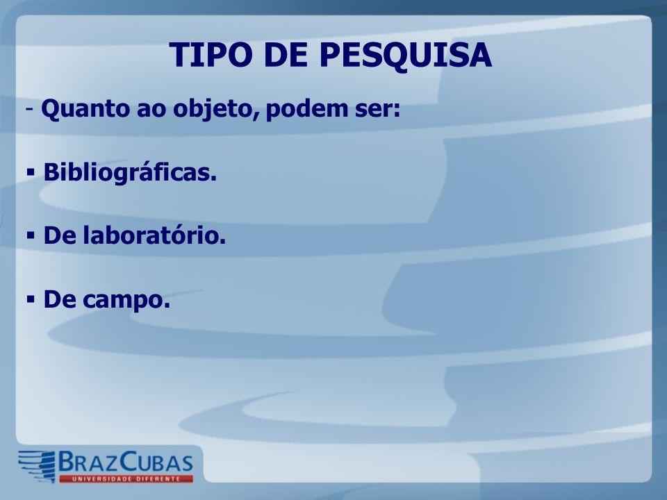 TIPO DE PESQUISA - Quanto ao objeto, podem ser: Bibliográficas. De laboratório. De campo.