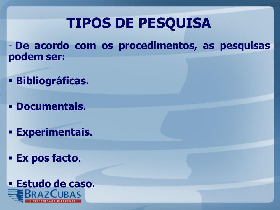 TIPOS DE PESQUISA - De acordo com os procedimentos, as pesquisas podem ser: Bibliográficas. Documentais. Experimentais. Ex pos facto. Estudo de caso.