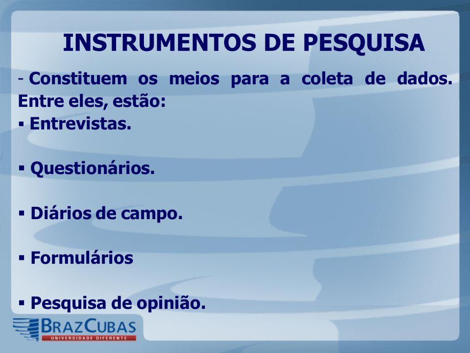 INSTRUMENTOS DE PESQUISA - Constituem os meios para a coleta de dados. Entre eles, estão: Entrevistas. Questionários. Diários de campo. Formulários Pe