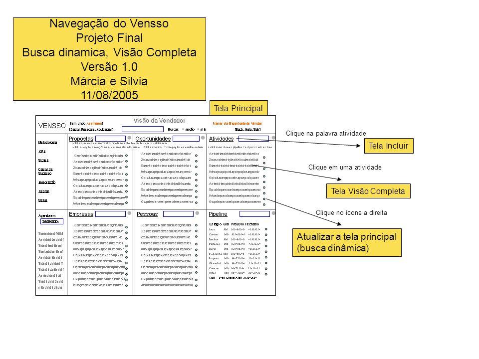 Navegação do Vensso Projeto Final Busca dinamica, Visão Completa Versão 1.0 Márcia e Silvia 11/08/2005 Tela Principal Tela Incluir Atualizar a tela pr