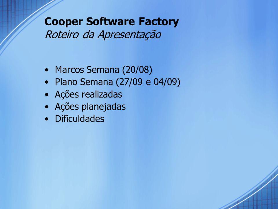 Cooper Software Factory Roteiro da Apresentação Marcos Semana (20/08) Plano Semana (27/09 e 04/09) Ações realizadas Ações planejadas Dificuldades