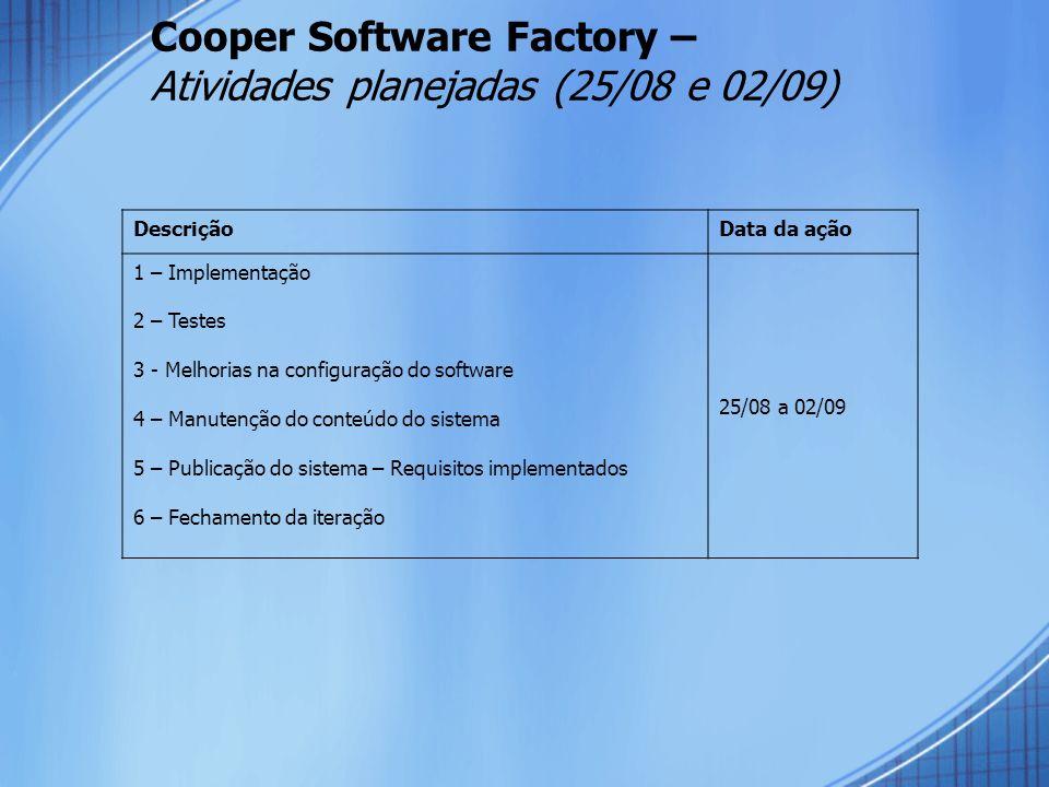Cooper Software Factory – Atividades planejadas (25/08 e 02/09) DescriçãoData da ação 1 – Implementação 2 – Testes 3 - Melhorias na configuração do so