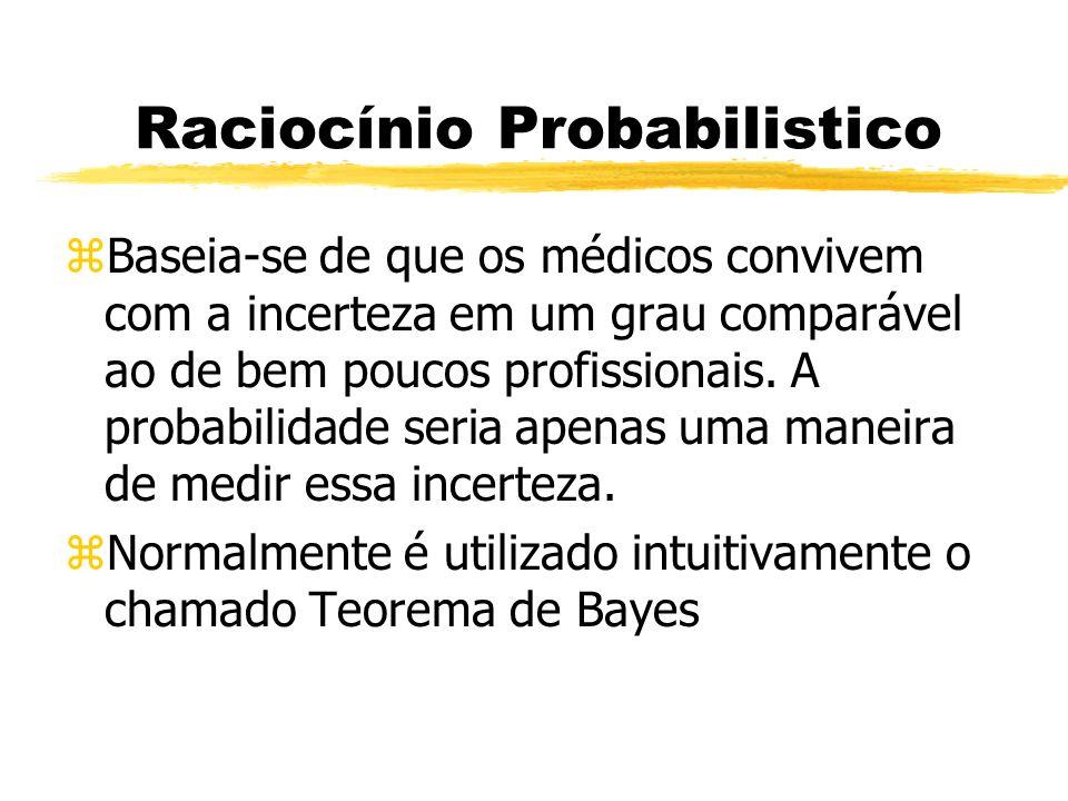 Raciocínio Probabilistico zBaseia-se de que os médicos convivem com a incerteza em um grau comparável ao de bem poucos profissionais. A probabilidade