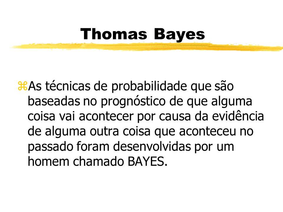 Thomas Bayes zAs técnicas de probabilidade que são baseadas no prognóstico de que alguma coisa vai acontecer por causa da evidência de alguma outra co