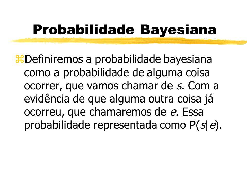 Probabilidade Bayesiana zDefiniremos a probabilidade bayesiana como a probabilidade de alguma coisa ocorrer, que vamos chamar de s. Com a evidência de