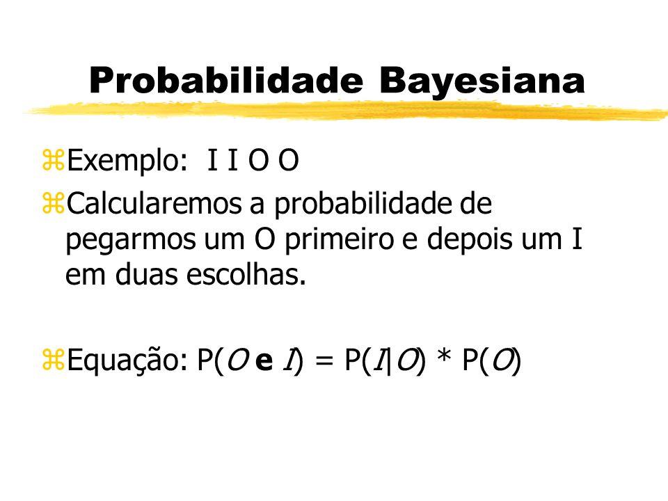 Probabilidade Bayesiana zExemplo: I I O O zCalcularemos a probabilidade de pegarmos um O primeiro e depois um I em duas escolhas. zEquação: P(O e I) =