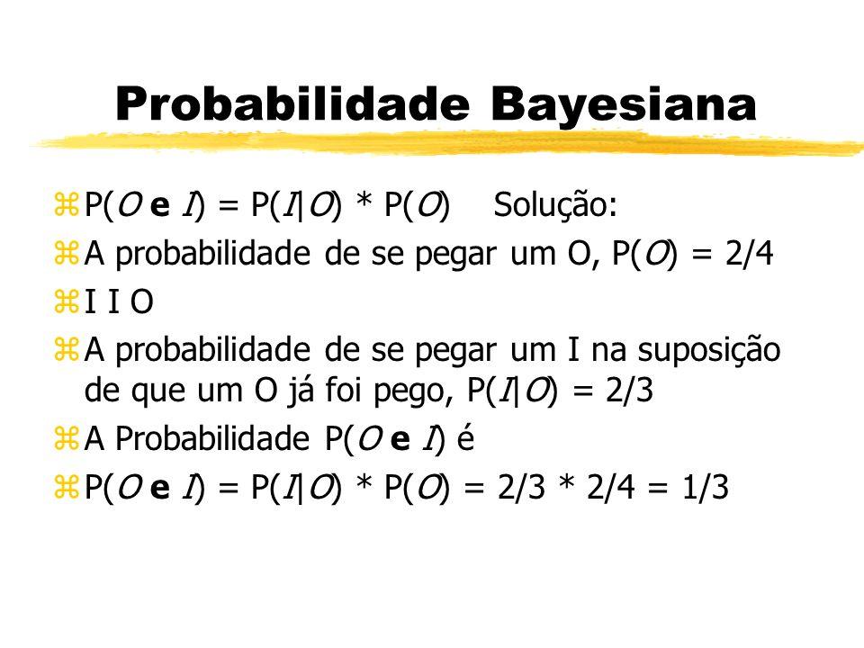 Probabilidade Bayesiana zP(O e I) = P(I|O) * P(O) Solução: zA probabilidade de se pegar um O, P(O) = 2/4 zI I O zA probabilidade de se pegar um I na s