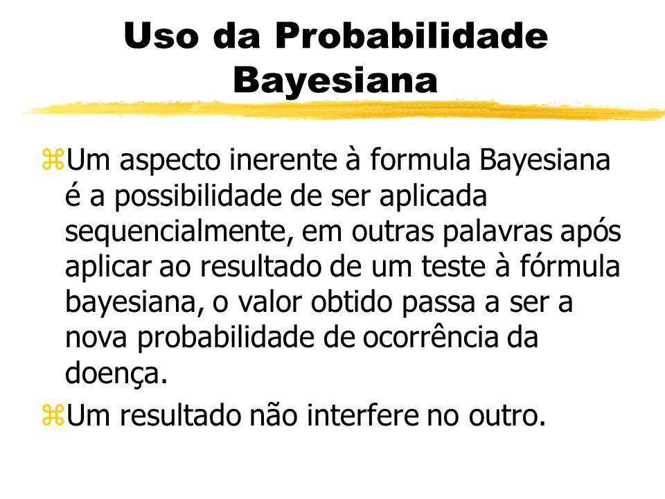 Uso da Probabilidade Bayesiana zUm aspecto inerente à formula Bayesiana é a possibilidade de ser aplicada sequencialmente, em outras palavras após apl