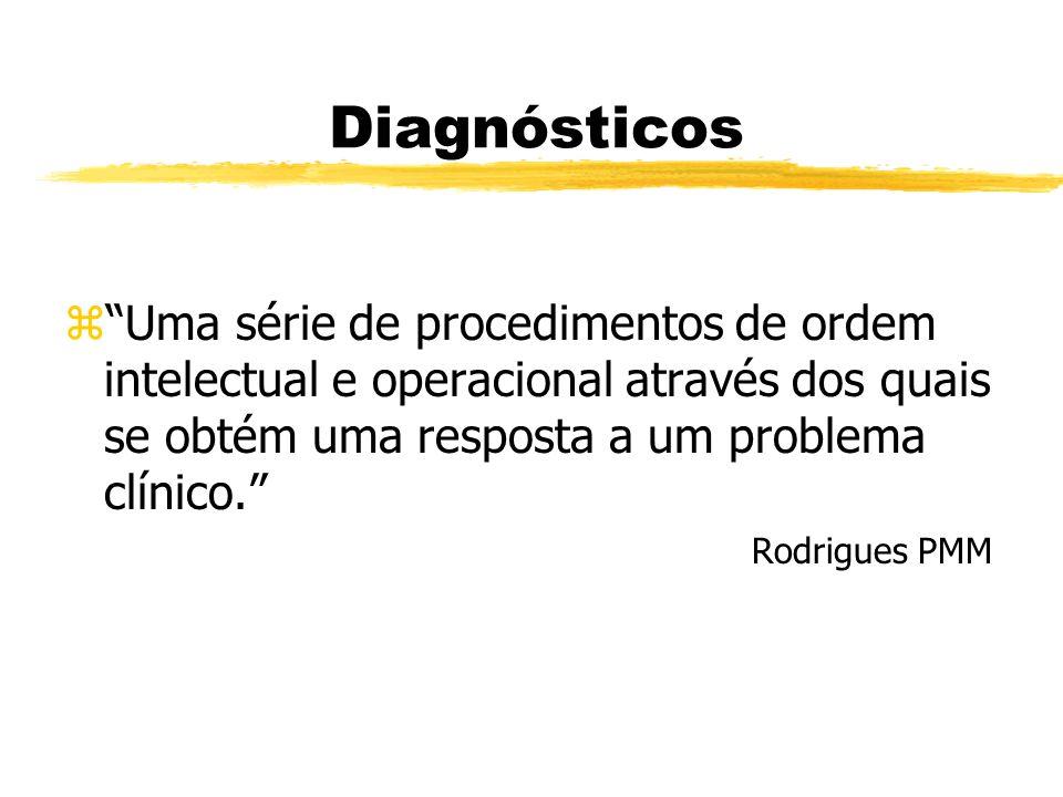 Diagnósticos zUma série de procedimentos de ordem intelectual e operacional através dos quais se obtém uma resposta a um problema clínico. Rodrigues P