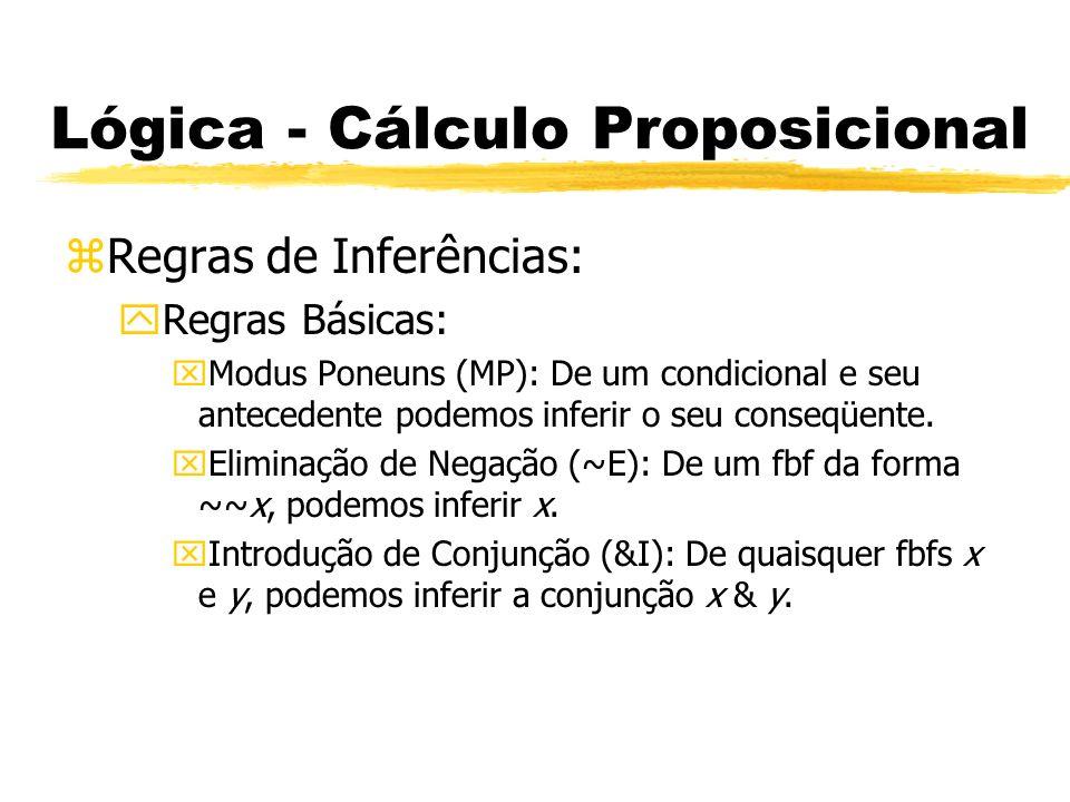 Lógica - Cálculo Proposicional zRegras de Inferências: yRegras Básicas: xEliminação de Conjunção (&E): De um conjunção podemos inferir qualquer um dos seus conjuntos (são cada uma das sentenças ligadas pela conjunção).