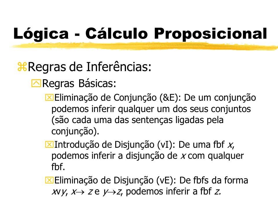 Lógica - Cálculo Proposicional zRegras de Inferências: yRegras Básicas: xIntrodução do Bicondicional ( I): De quaisquer fbfs de formas (x y) e (y x) podemos inferir x y.