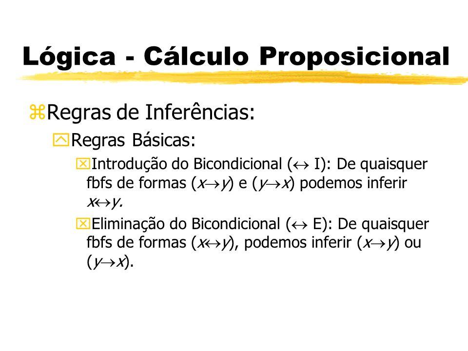 Lógica - Cálculo Proposicional zRegras de Inferências: yRegras Básicas: xProva do Condicional (PC): Dada uma derivação de uma fbf x a partir de uma hipótese y, podemos descartar a hipótese e inferir y x.