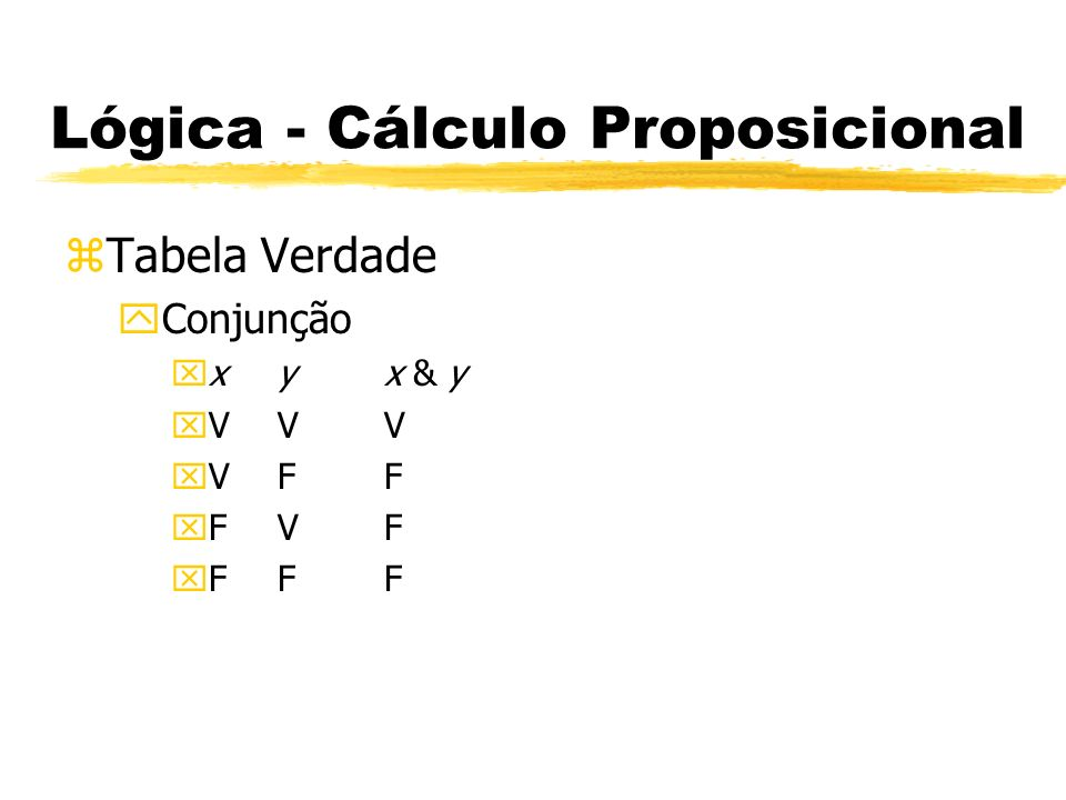 Lógica - Cálculo Proposicional zTabela Verdade yDisjunção xxyx v y xVVV xVFV xFVV xFFF