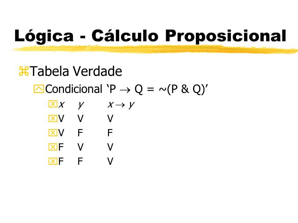 Lógica - Cálculo Proposicional zTabela Verdade yBicondicional P Q = (P Q) & (Q P) xxyx y xVVV xVFF xFVF xFFV