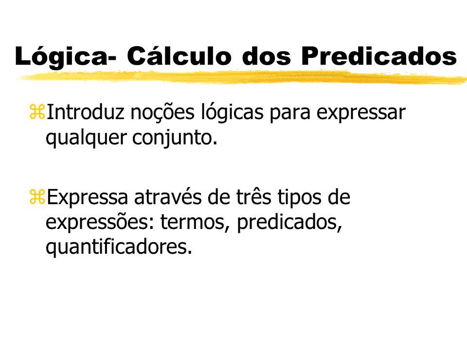Lógica- Cálculo dos Predicados zDefinições: yClasse de Atributo: São representadas pelos substantivos comuns, locuções nominais, adjetivos, locuções adjetivas, verbos, e locuções verbais.