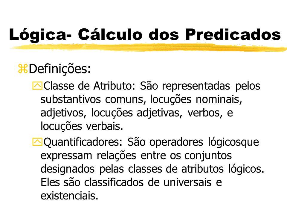 Lógica- Cálculo dos Predicados zDefinições: yQuantificador Universal ( ): Esse tipo de quantificador é formado pelas expressões todo e nenhum.