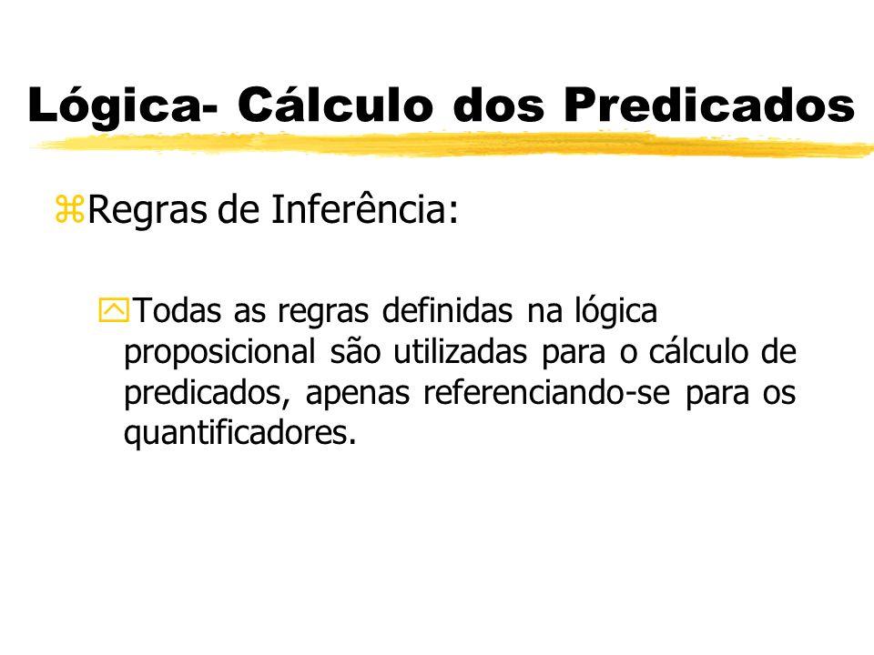 Lógica- Cálculo dos Predicados zRegras de Inferência: yRegras Básicas: xEliminação Universal (EU): De uma fbf quantificadora universalmente, x, infere-se qualquer fbf da forma x /, a qual resulta de se substituir cada ocorrência da variável em x por uma letra nominal.