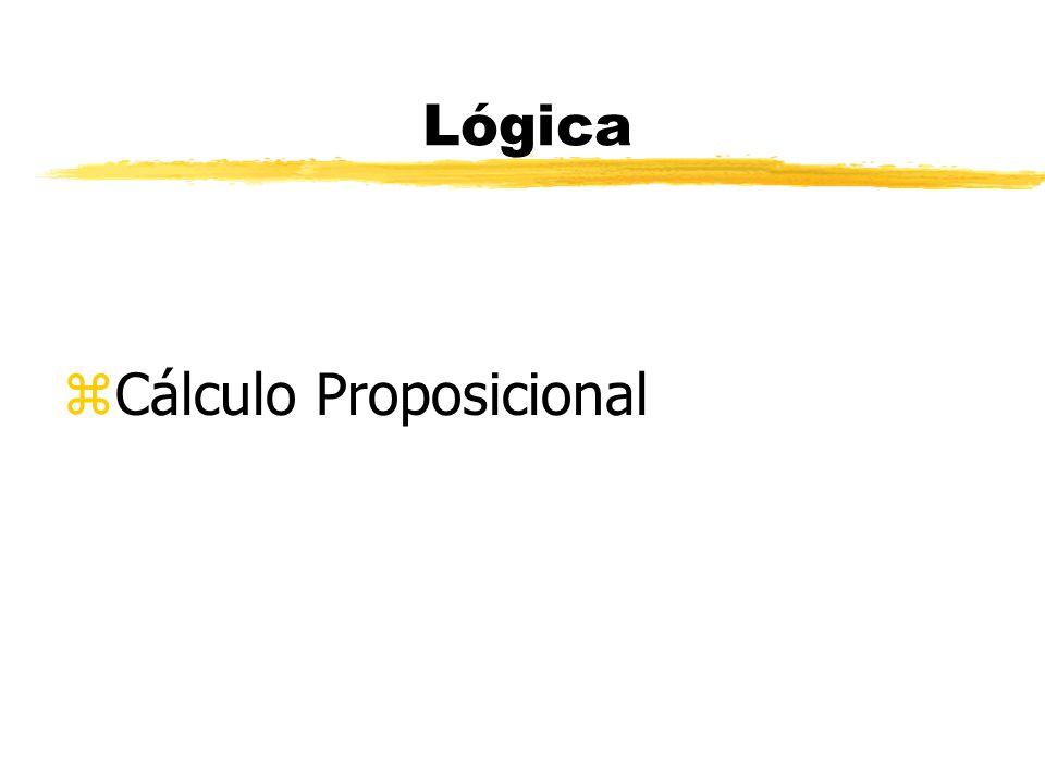 Lógica - Cálculo Proposicional zCálculo interessado pelas sentenças declarativas (proposições).