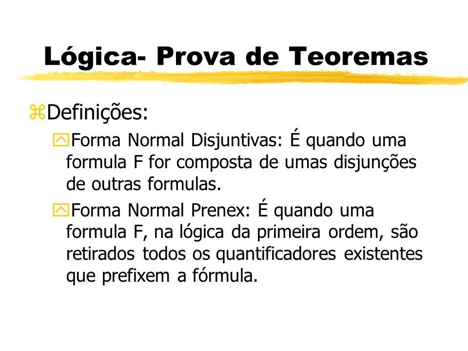 Lógica- Prova de Teoremas zUniverso de Herbrand yServe para demostrar que um conjunto de cláusulas S é insatisfatível.