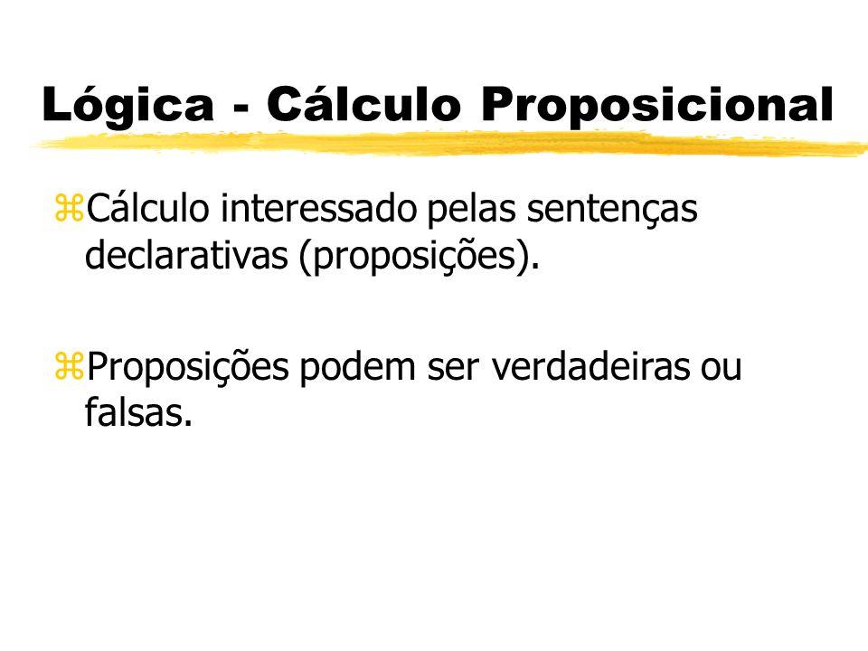 Lógica - Cálculo Proposicional zVocabulário: yOperadores lógicos: xNegação: ~(Não é o caso que) xConjunção: &(e) xDisjunção: v (ou) xCondicional: -> (se..então) xBicondicional: (se e somente se)