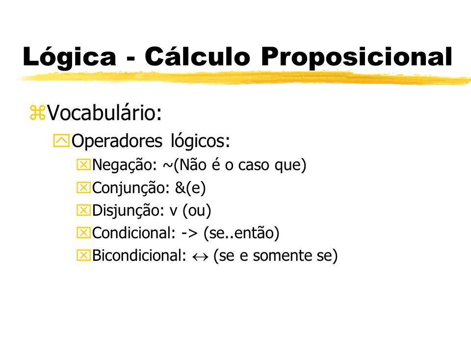 Lógica - Cálculo Proposicional zVocabulário: yLetras Sentenciais: xLetras maiúsculas seguidas ou não de números.