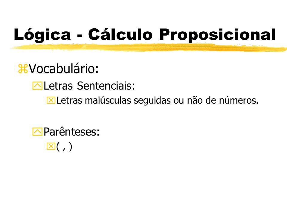 Lógica - Cálculo Proposicional zRegras de Formação: yQualquer letra sentencial é uma fbf.