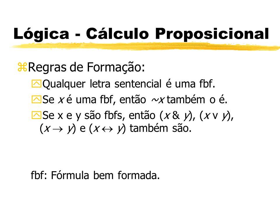 Lógica - Cálculo Proposicional zDefinições: yFórmula Válida: Se e somente se for verdadeira para todas as interpretações possíveis.