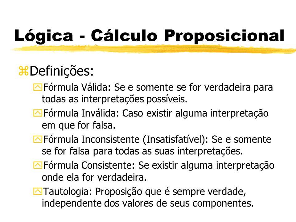 Lógica - Cálculo Proposicional zRegras de Inferências: ySão regras hipotéticas ou não que geram as formas de argumentos numa série de etapas simples e precisas de raciocínio, chamadas de derivação ou prova.