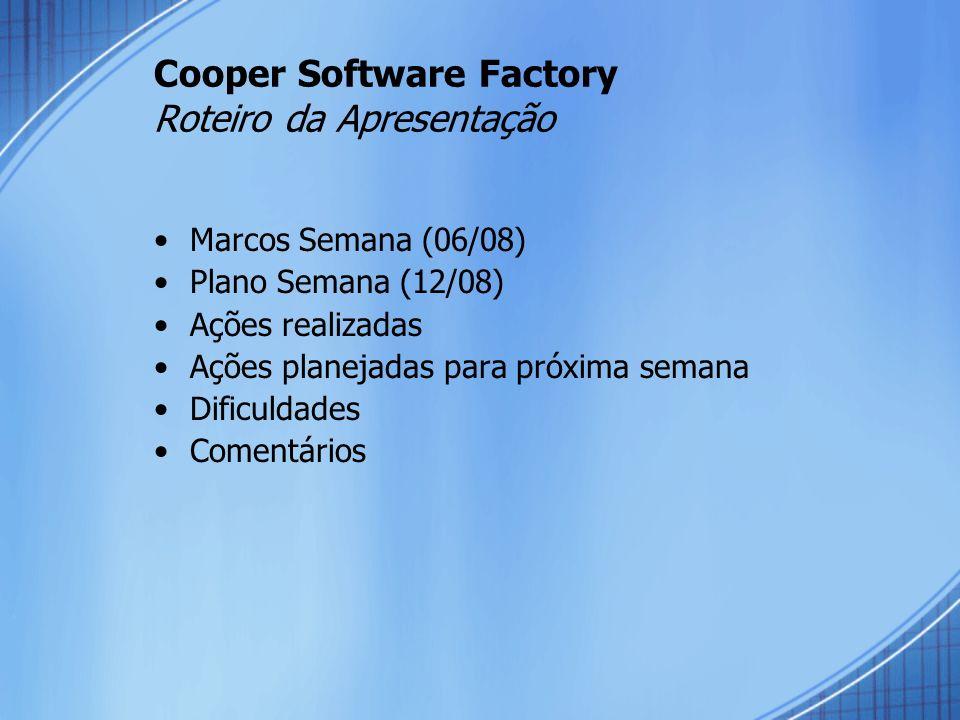 Cooper Software Factory Roteiro da Apresentação Marcos Semana (06/08) Plano Semana (12/08) Ações realizadas Ações planejadas para próxima semana Dificuldades Comentários