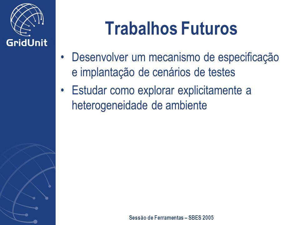 Sessão de Ferramentas – SBES 2005 Trabalhos Futuros Desenvolver um mecanismo de especificação e implantação de cenários de testes Estudar como explorar explicitamente a heterogeneidade de ambiente