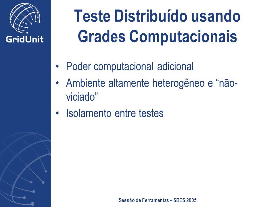 Sessão de Ferramentas – SBES 2005 Teste Distribuído usando Grades Computacionais Poder computacional adicional Ambiente altamente heterogêneo e não- viciado Isolamento entre testes