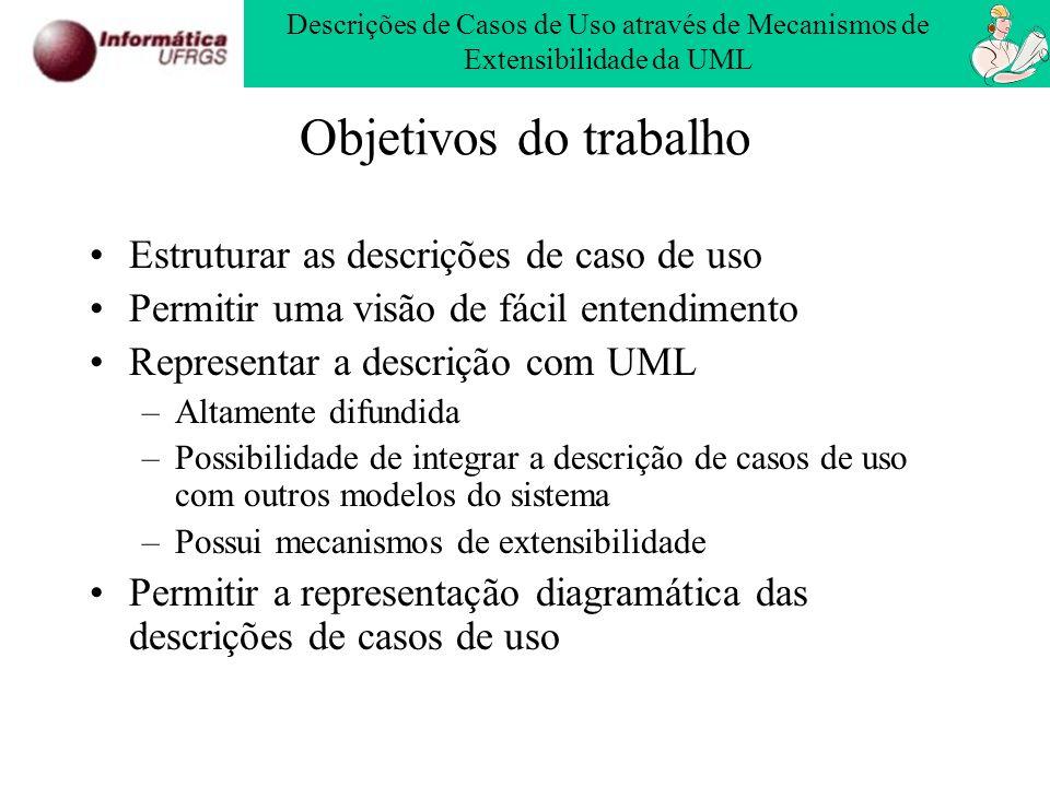 Objetivos do trabalho Estruturar as descrições de caso de uso Permitir uma visão de fácil entendimento Representar a descrição com UML –Altamente difu