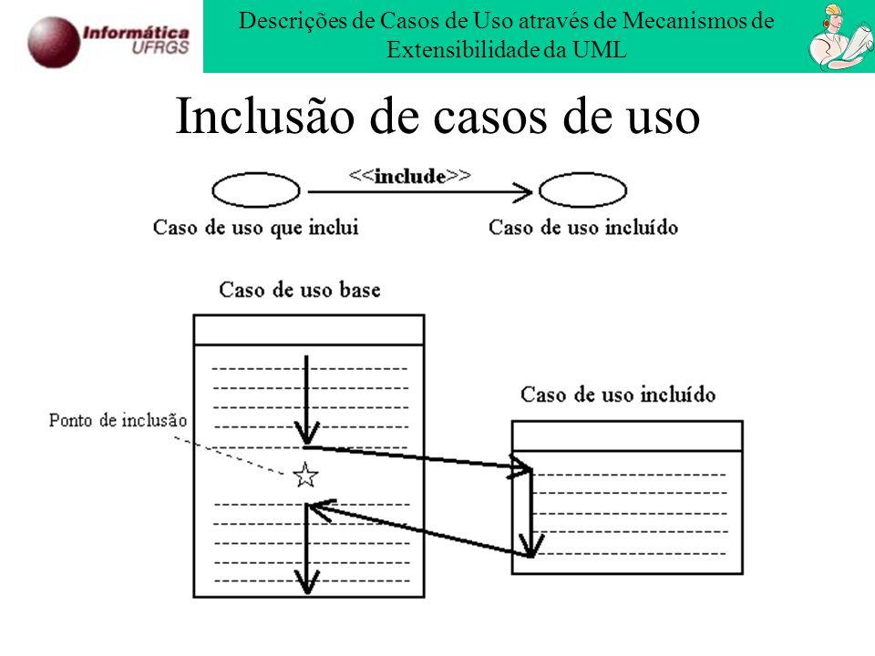 Inclusão de casos de uso Descrições de Casos de Uso através de Mecanismos de Extensibilidade da UML