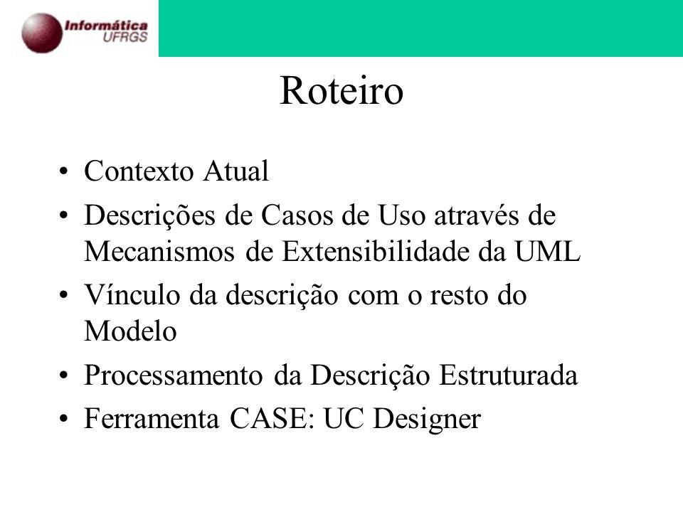 Roteiro Contexto Atual Descrições de Casos de Uso através de Mecanismos de Extensibilidade da UML Vínculo da descrição com o resto do Modelo Processam