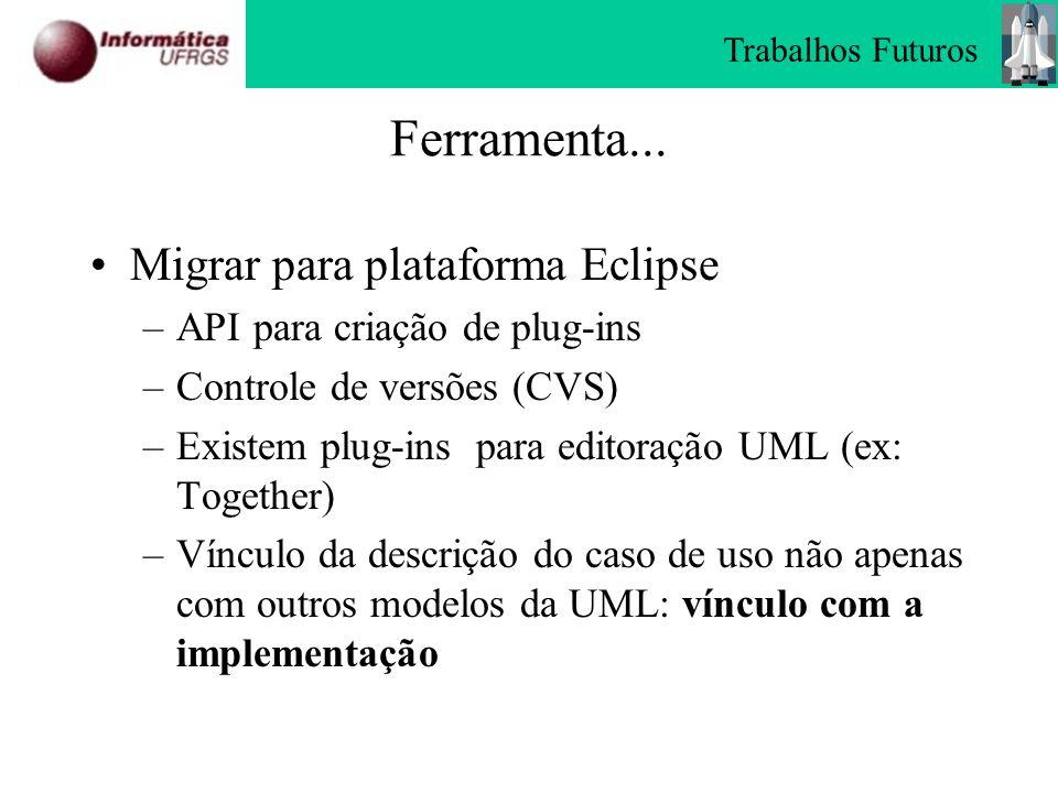 Ferramenta... Migrar para plataforma Eclipse –API para criação de plug-ins –Controle de versões (CVS) –Existem plug-ins para editoração UML (ex: Toget