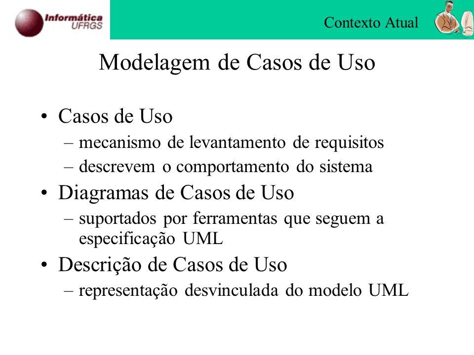 Modelagem de Casos de Uso Casos de Uso –mecanismo de levantamento de requisitos –descrevem o comportamento do sistema Diagramas de Casos de Uso –supor