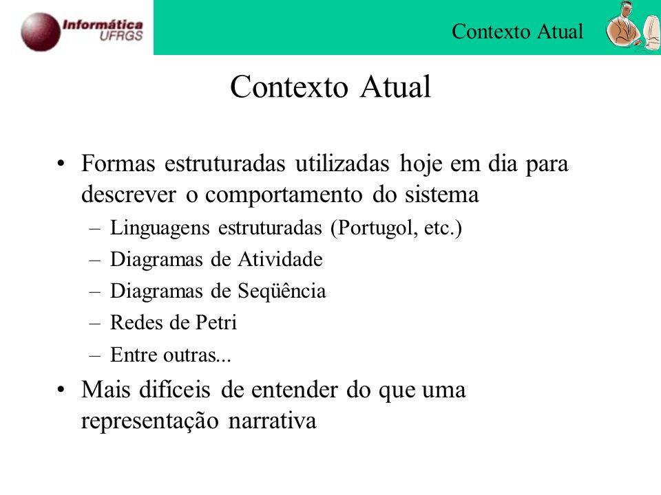 Contexto Atual Formas estruturadas utilizadas hoje em dia para descrever o comportamento do sistema –Linguagens estruturadas (Portugol, etc.) –Diagram