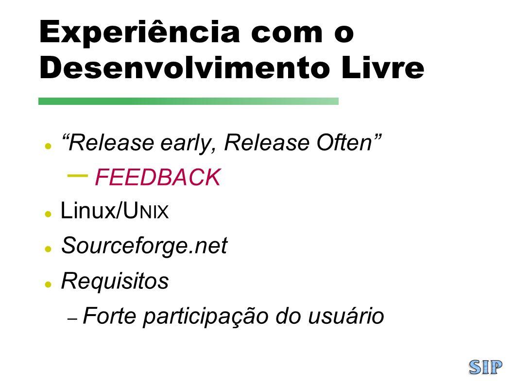 Experiência com o Desenvolvimento Livre Release early, Release Often – FEEDBACK Linux/U NIX Sourceforge.net Requisitos – Forte participação do usuário