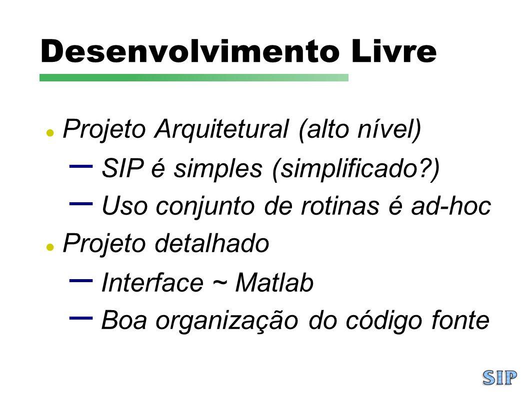 Desenvolvimento Livre Projeto Arquitetural (alto nível) – SIP é simples (simplificado?) – Uso conjunto de rotinas é ad-hoc Projeto detalhado – Interfa