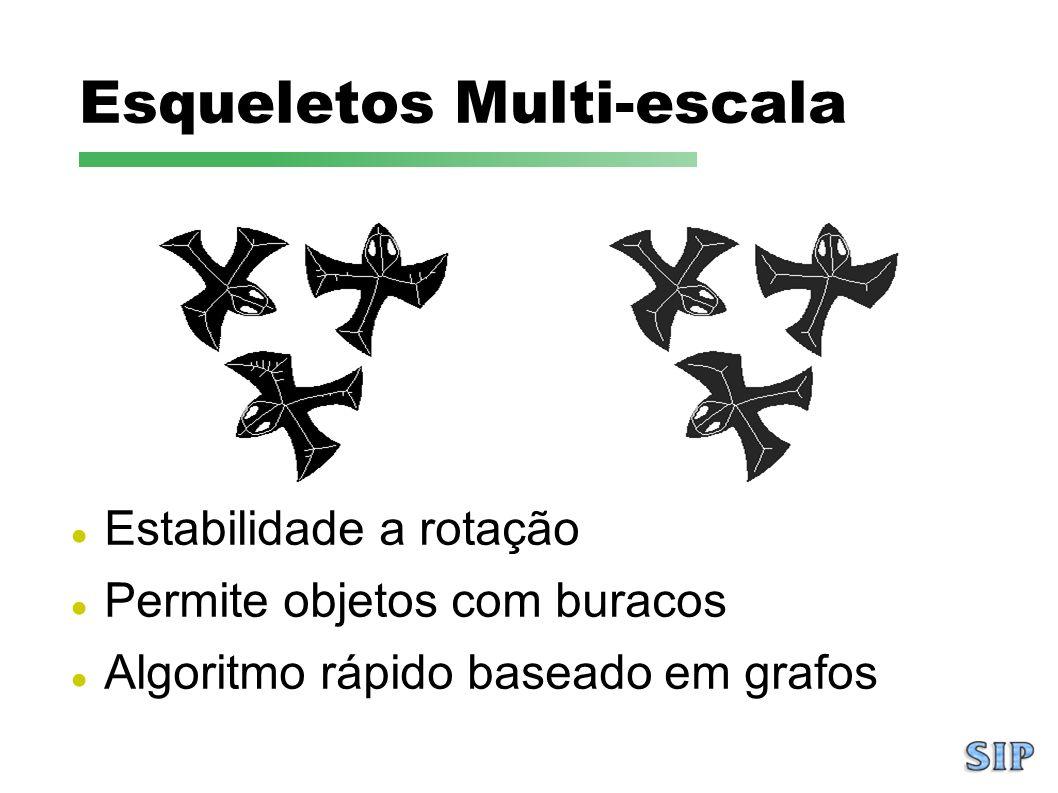Estabilidade a rotação Permite objetos com buracos Algoritmo rápido baseado em grafos