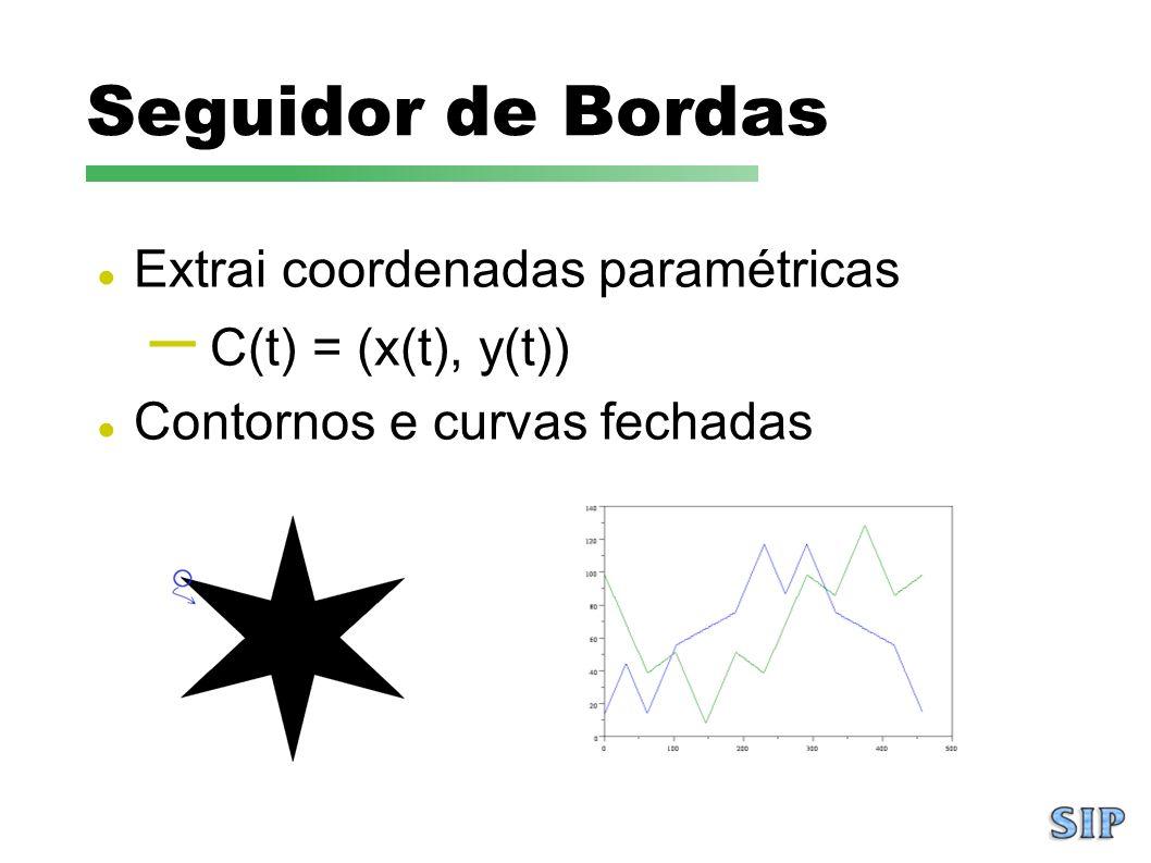 Seguidor de Bordas Extrai coordenadas paramétricas – C(t) = (x(t), y(t)) Contornos e curvas fechadas