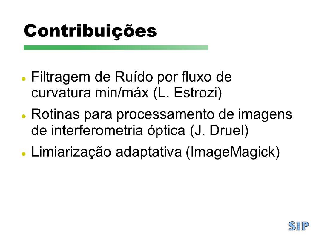 Contribuições Filtragem de Ruído por fluxo de curvatura min/máx (L. Estrozi) Rotinas para processamento de imagens de interferometria óptica (J. Druel